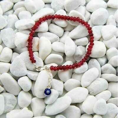 Handmade Red Jade Stacking Bracelet Evil Eye Charm