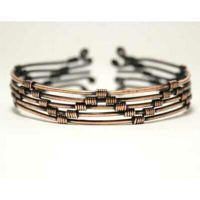 Handmade Copper Cuff Bracelet, Wire Wrap