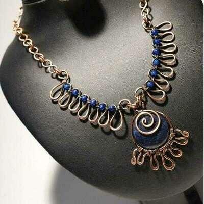 Handmade Antiqued Copper Lapis Lazuli Necklace