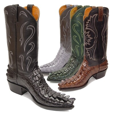 El Grande Crocodile Tail (Large Horn - 11 Colors) Cowboy Boots