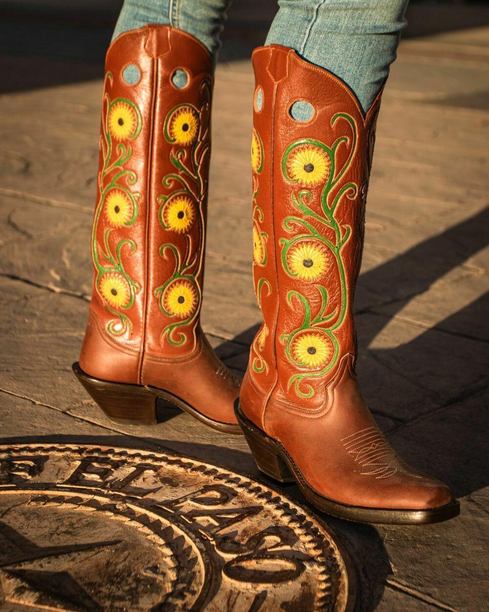 Texas Sunflower Cowboy Boots -NEW Design!