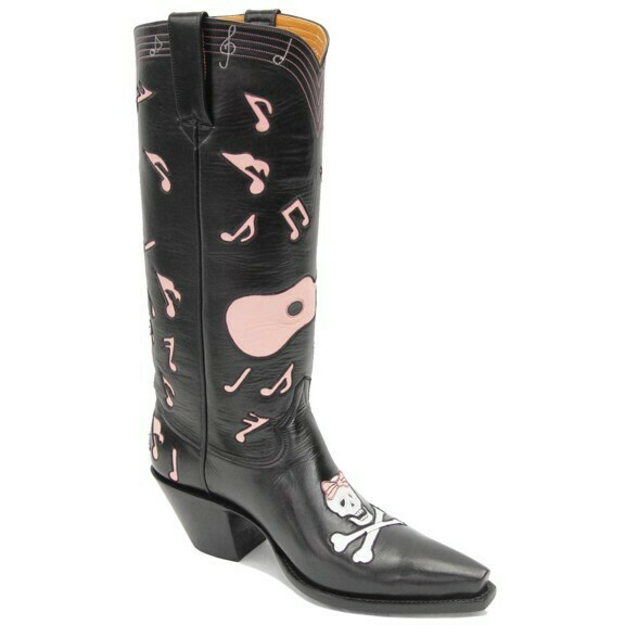 Skull Music Notes Cowboy Boots