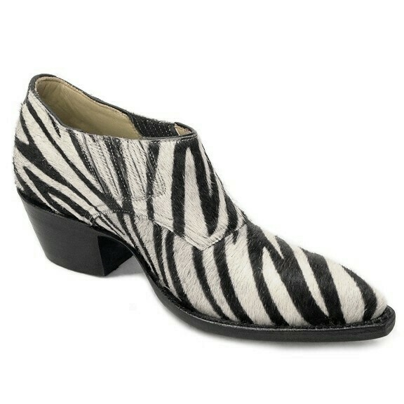 Zebra Hair-On Shoe Boots
