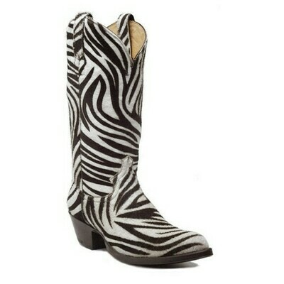 Zebra Hair-On Top & Bottom Cowboy Boots