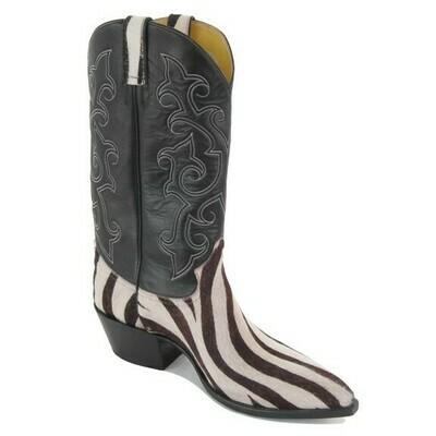 Zebra Hair-On Cowboy Boots
