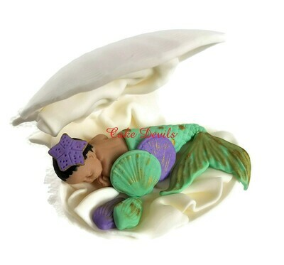 Fondant Mermaid Baby Shower Cake Topper in a Clam shell