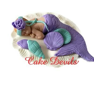 Fondant Mermaid Baby Shower Cake Topper