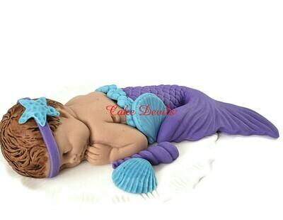 Mermaid Baby Shower Cake Topper, Fondant  Sleeping Baby girl Cake Decoration