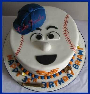 Baseball Face Cake Topper Kit, Baseball Cake Decorations