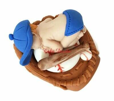 Fondant Baseball Baby sleeping in Glove Cake Topper for Baby Shower Cake