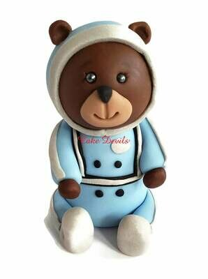 Fondant Astronaut Teddy Bear Cake Topper, Bear in Space Cake Decoration Great for a baby shower, birthday Cake and more