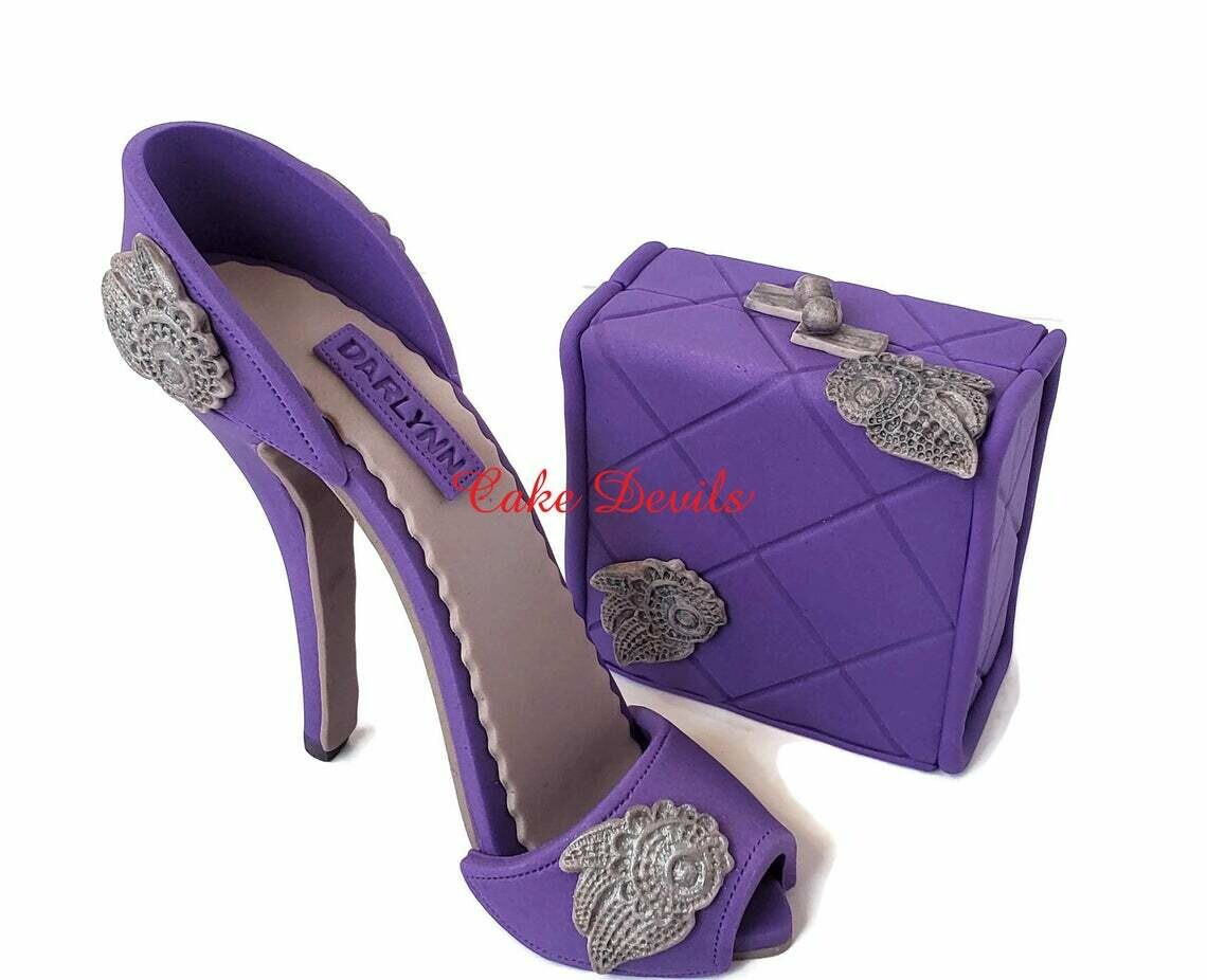 High Heel Cake Topper with matching Clutch Purse