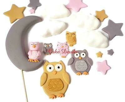 Fondant Owl, Moon, Stars, and Clouds Baby Shower Cake Decorations