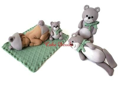 Teddy Bear Baby Shower Fondant Cake Toppers