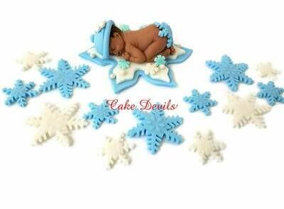 Fondant Snowflake Baby Shower Cake Topper