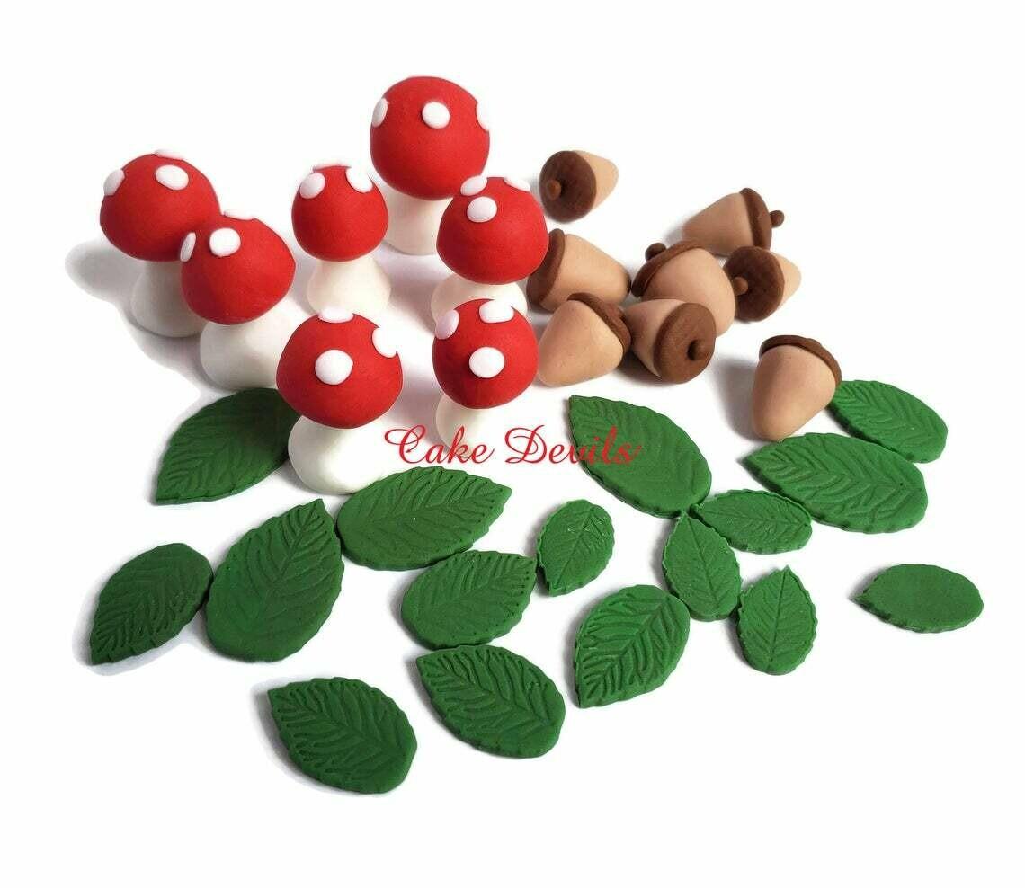 Fondant Woodland Cake Toppers, Mushrooms, Acorns, Leaves, Handmade Sugar Cake Decorations