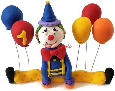 Fondant Circus Clown Cake Topper and 3D Fondant balloons Cake Decorations