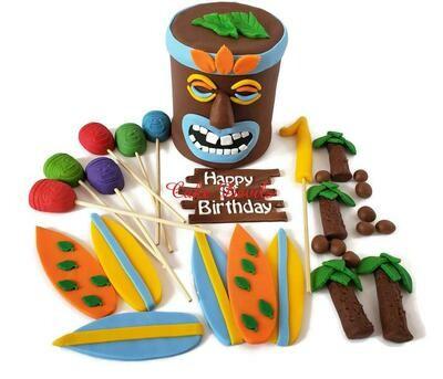 Tiki Head Cake Topper and Fondant Luau Party Cake Decorations