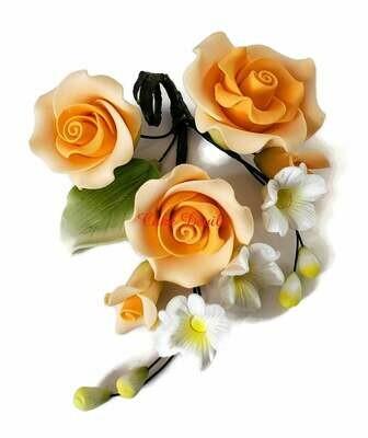 Special! Orange Fondant Roses and Rosebud Cake Topper