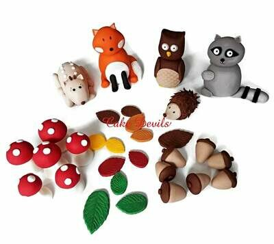 Fondant Woodland Creatures Cake Toppers with Fox, Owl, Deer, Raccoon, Porcupine, Mushrooms, Acorns, and Leaves