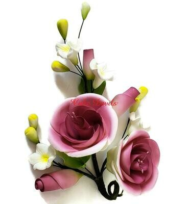 Special! Small Burgundy Purple Fondant Rose and Rosebud Cake Topper