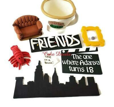 Friends TV show Fondant Cake Toppers with Large Central Perk Coffee Mug and NYC Skyline