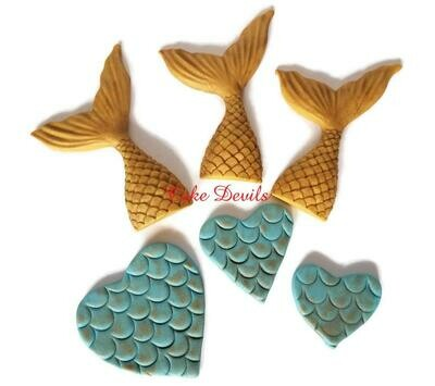 Mermaid Tails and scaled Hearts Fondant Cake Toppers