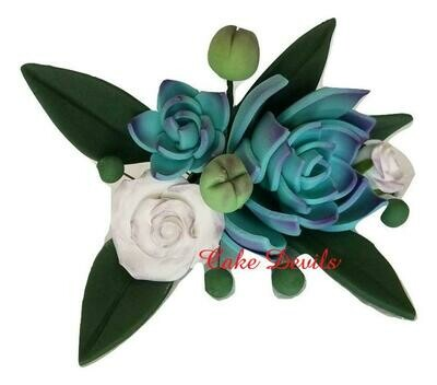 Succulent and Rose Spray Cake Topper