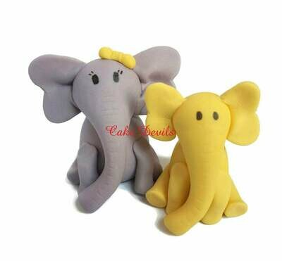 Elephant Baby Shower Cake Topper, Handmade Fondant Mommy and Baby Elephants