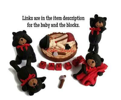 Black Bear Baby Shower Fondant Cake Toppers, Buffalo Plaid Grizzly Bear Cake Decorations