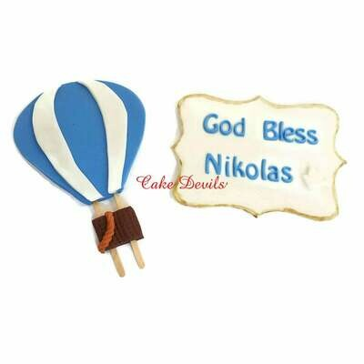 Hot Air Balloon and Personalized Fondant Plaque Cake Toppers