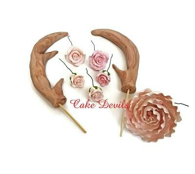 Fondant Antlers and Roses Cake Toppers, Hunting Cake Decorations