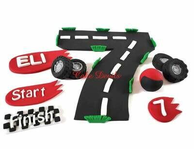 Race Car Cake Decorations, Fondant Race Track, Fondant Tires, Race Car Banners, Helmet, Finish Line