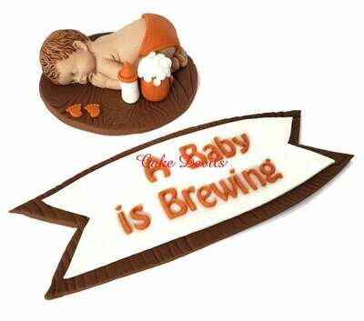 A Baby is Brewing Fondant Baby Shower Cake Topper
