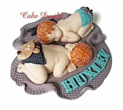 Woodland Fondant Baby Shower Cake Topper, Deer Butt Diaper, Raccoon Baby Butt