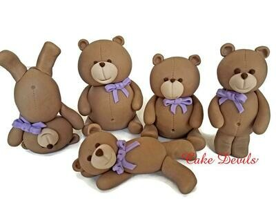 Teddy Bear Cake Toppers, Fondant Bear Cake Decorations