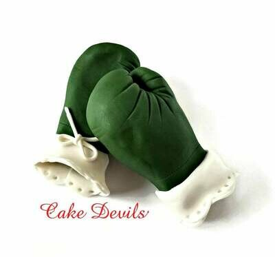 Lace Boxing Gloves Cake Topper, Fondant Camo Boxing Gloves, Camo and Lace
