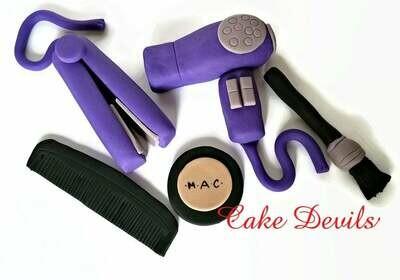 Beauty Salon Fondant Cake Toppers, Hairdresser Cake Decorations, Makeup Cake