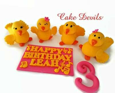Fondant Ducks, Dancing Duck Cake Toppers