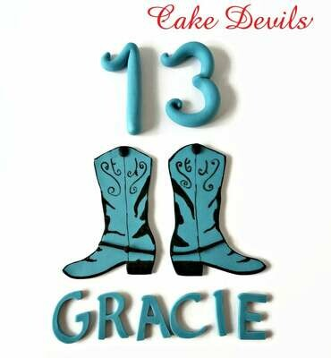 Cowgirl Party or Cowboy Birthday - Country Western Cake Topper Kit, including fondant, cowboy boots, name, age, cake decorations