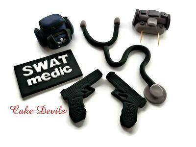 Emergency Medical Cake Topper Kit, Fondant SWAT Medic Cake Decorations including Medical bag, fondant guns