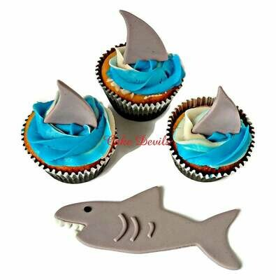 Shark Fin Fondant Cupcake Toppers and Shark Cake Decoration, Great for a Shark themed cake, Surf Cake, Pool Party, or Beach Party