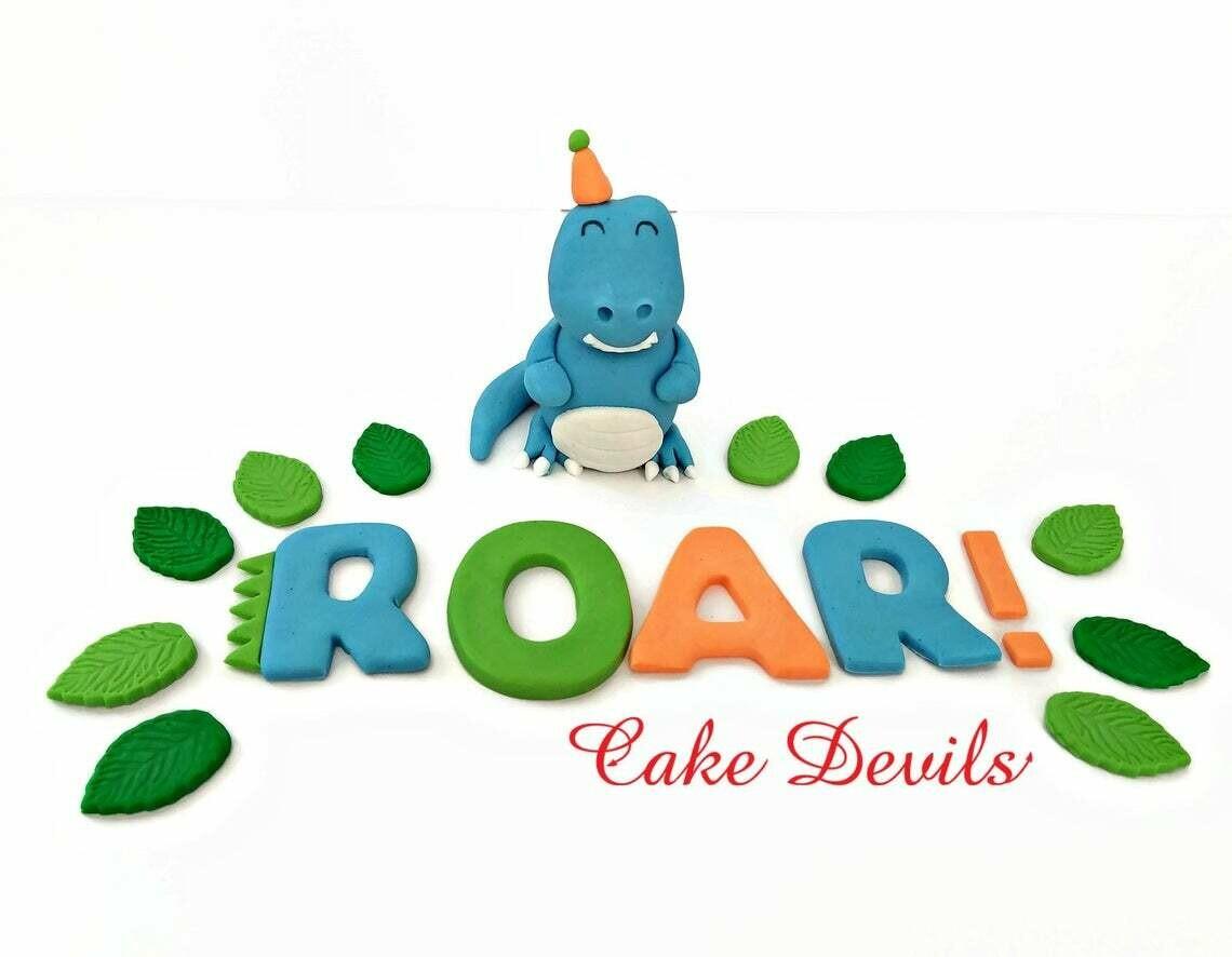 Party Animal Dinosaur Cake Topper, Birthday Cake Decorations, First birthday, 1st birthday, ROAR, RAWR, Fondant Letters, fondant dinosaur
