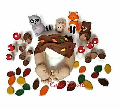 Woodland Creatures Mini Baby Butt Baby and Animals Baby Shower Cake Topper Kit