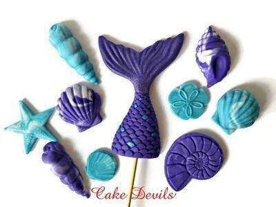 Mermaid Tail and Shells Fondant Cake Topper set