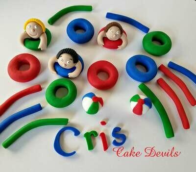 Pool Party Cake Topper Kit - Fondant, Handmade Edible, Beach ball cake toppers, pool party cake decorations, swimming party