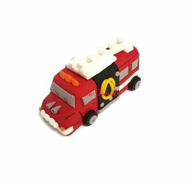 Fire Truck Cake Topper, Fondant, Handmade Edible Firetruck cake decorations