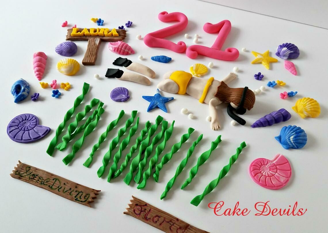 Snorkel themed fondant Cake Topper Kit of Swimmer Cake Decorations, great for a Beach Party or Pool Party