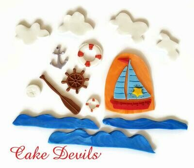 Sailboat Fondant Cake Topper Kit from the On The Go Fondant Toppers, Nautical Boat Cake Decorations