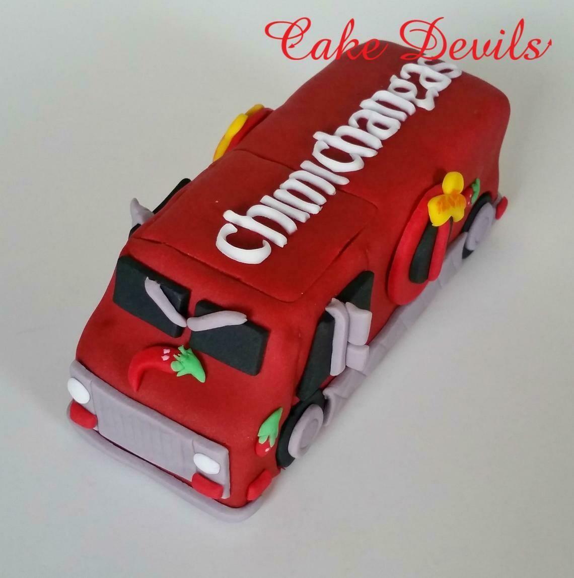 Dead Pool Food Truck Cake Topper, Fondant, Handmade Edible, Chimichangas Truck